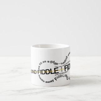 Fiddle Proverbs Word Art Violin Shape Espresso Mug