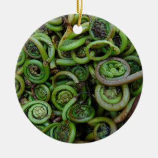 Fiddlehead Ferns Ceramic Ornament
