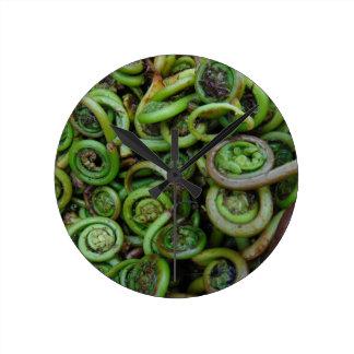 Fiddlehead Ferns Round Clock