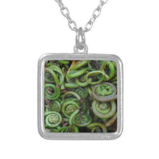 Fiddlehead Ferns Silver Plated Necklace