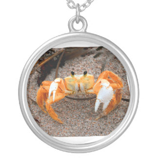 Fiddler Crab On Beach Colorized Orange Silver Plated Necklace