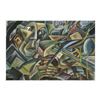 Fiddler, cubist oil painting canvas print
