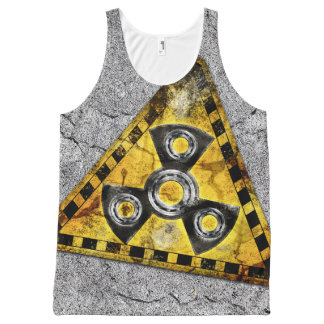 Fidget Spinner Nuclear Radiation Warning Triangle All-Over Print Tank Top