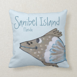 Fido Adorable Fish Art Sanibel Island Cushion