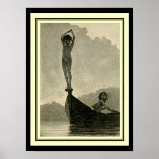 """Fidus """"Dive"""" 12 x 16 Art Nouveau Print"""