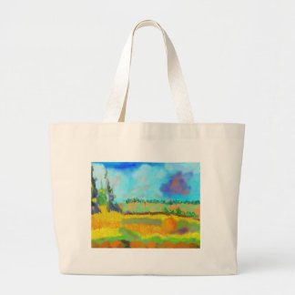 Field Art, After Pissarro Large Tote Bag