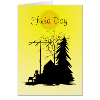Field Day  Ham Radio Silhouette Card With Sun