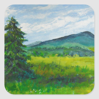Field Evergreen, acrylic painting Square Sticker