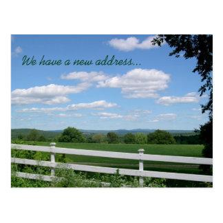 Field Fence Rural Living New Address Postcard