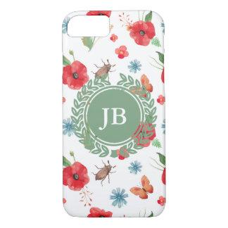 Field Flowers Monogram Pattern (Customizeable) iPhone 7 Case
