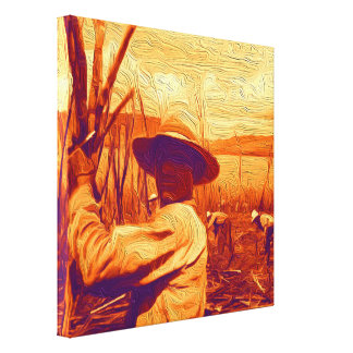 Field Hands Harvesting Sugar Cane Canvas Print