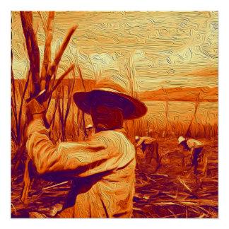 Field Hands Harvesting Sugar Cane Poster