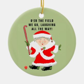 Field Hockey Christmas Collectible Round Ceramic Decoration