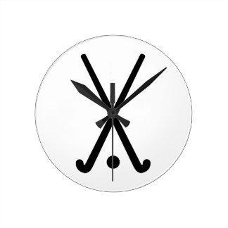 Field hockey clubs ball round wallclocks
