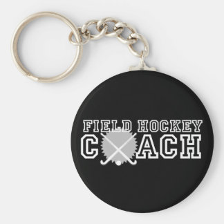 Field Hockey Coach Basic Round Button Key Ring