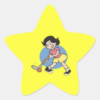 Field Hockey Girl Player Star Sticker