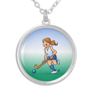 Field  hockey girl silver plated necklace