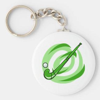 Field Hockey green logo Basic Round Button Key Ring
