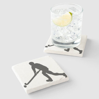 Field Hockey Male Silhouette Stone Coaster