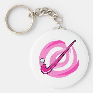 Field Hockey pink logo Keychain
