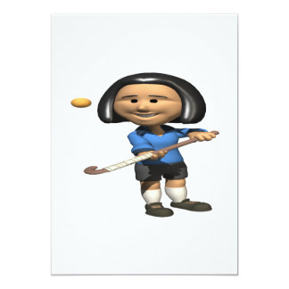 Field Hockey Player 2 13 Cm X 18 Cm Invitation Card