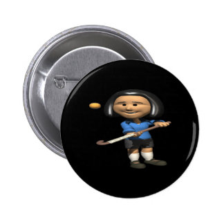 Field Hockey Player 2 6 Cm Round Badge