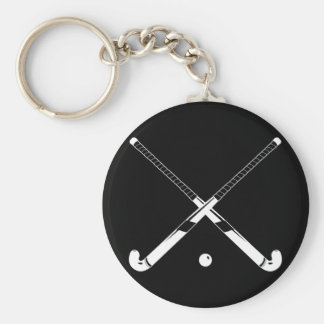 Field Hockey Silhouette Keychain Black