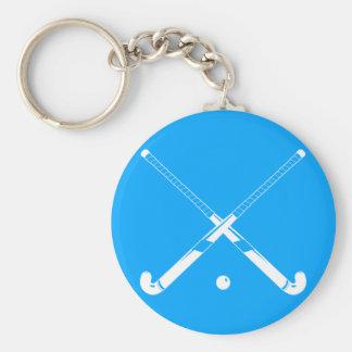 Field Hockey Silhouette Keychain Blue