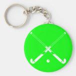 Field Hockey Silhouette Keychain Green