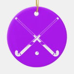 Field Hockey Silhouette Ornament Purple