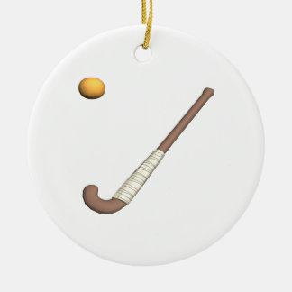 Field Hockey Stick & Ball Round Ceramic Decoration