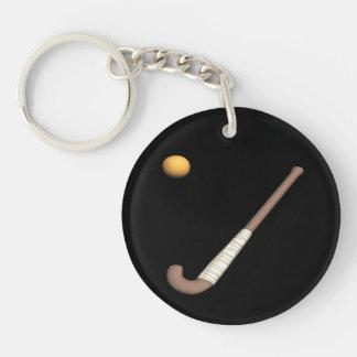 Field Hockey Stick & Ball Single-Sided Round Acrylic Key Ring