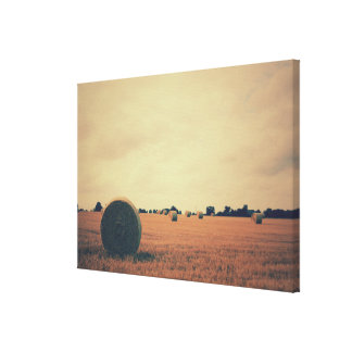 Field Landscape with Hay Bales Canvas Print