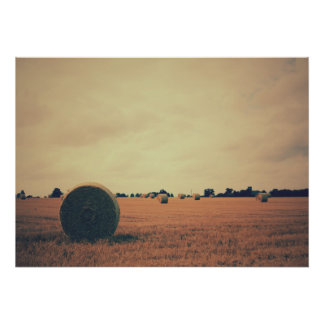 Field Landscape with Hay Bales Poster