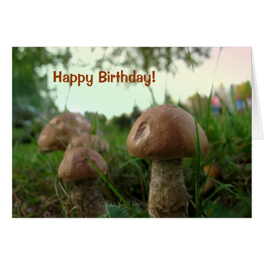 Field Mushrooms Happy Birthday Card
