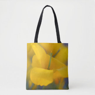 Field of blooming poppies tote bag