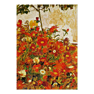 Field of Flowers - Egon Schiele Poster