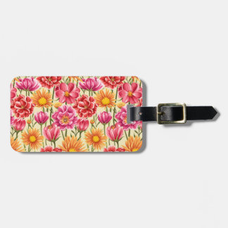 Field of Flowers Luggage Tag w/ leather strap