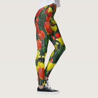 Field of orange and yellow Tulips Leggings