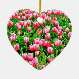 Field of Pink Tulips Ceramic Heart Decoration