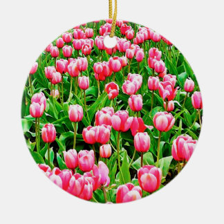 Field of Pink Tulips Christmas Ornaments