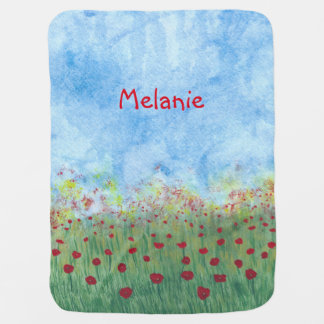 Field of Poppies Personalized Baby Blankets Receiving Blanket