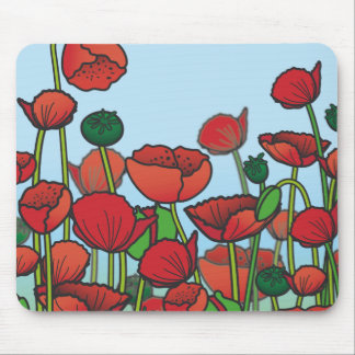 Field of red Poppy flowers Mouse Pad