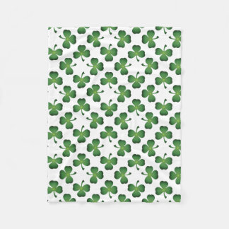 Field of Shamrock Clovers Fleece Blanket