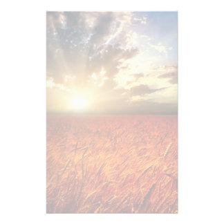 Field of wheat and sunset stationery
