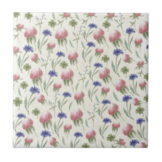 Field of wild flowers small square tile