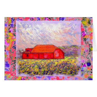 field of wild purple iris drip greeting card