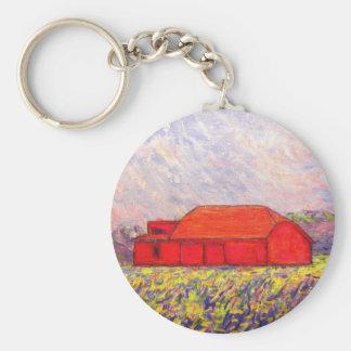 field of wild purple iris basic round button key ring