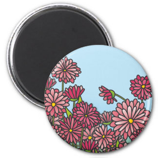 Field of yellow Chrysanthemum flowers Cork Coaster Magnet