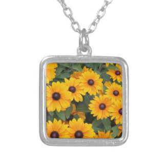 Field of yellow daisies silver plated necklace